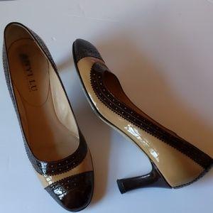 Anyi Lu two-tone patent leather heels-sz 8 1/2